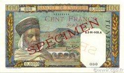 100 Francs type 1938 filigrane lettres TUNISIE  1938 P.13bs pr.NEUF