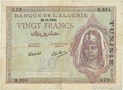 20 Francs type 1943 TUNISIE  1944 P.18 TTB