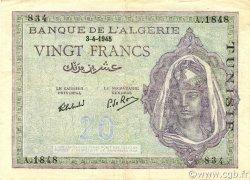 20 Francs type 1943 TUNISIE  1945 P.18 TTB à SUP