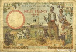 1000 Francs type 1940 filigrane lettres TUNISIE  1942 P.20b B à TB