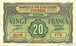 20 Francs type 1946 TUNISIE  1948 P.22 TTB+