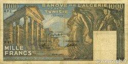 1000 Francs type 1950 temple romain TUNISIE  1950 P.29a TB+