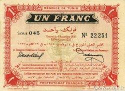 1 Franc TUNISIE  1918 P.43 SPL