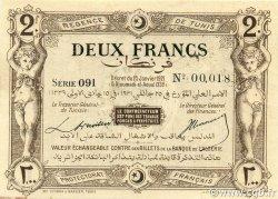 2 Francs TUNISIE  1921 P.53 SPL