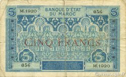 5 Francs 1924 MAROC  1924 P.09 pr.TB