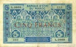 5 Francs 1924 MAROC  1924 P.09 TTB