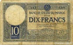 10 Francs MAROC  1924 P.11b B à TB