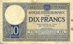 10 Francs MAROC  1926 P.11b TB+