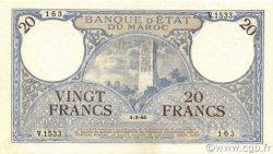 20 Francs 1920 modifié 1941 MAROC  1945 P.18b SUP à SPL