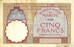 5 Francs MAROC  1922 P.23Aa TTB
