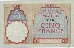 5 Francs type 1922 modifié 1941 MAROC  1941 P.23Ab SPL