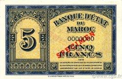 5 Francs MAROC  1943 P.24s NEUF