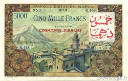 50 Dirhams sur 5000 Francs MAROC  1953 P.51 TTB à SUP
