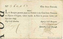 100 Livres Tournois typographié FRANCE  1720 Laf.094 TB à TTB