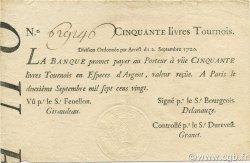50 Livres Tournois typographié FRANCE  1720 Laf.096 SUP