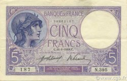 5 Francs VIOLET FRANCE  1918 F.03.02 pr.SUP
