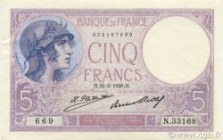 5 Francs VIOLET FRANCE  1928 F.03.12 SPL