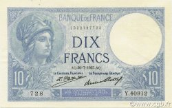 10 Francs MINERVE FRANCE  1927 F.06.12 SPL
