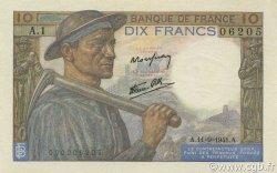 10 Francs MINEUR FRANCE  1941 F.08.01 SUP