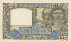 20 Francs SCIENCE ET TRAVAIL FRANCE  1939 F.12.01 SPL