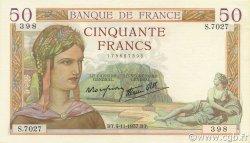 50 Francs CÉRÈS modifié FRANCE  1937 F.18.04 SUP+