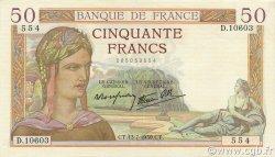 50 Francs CÉRÈS modifié FRANCE  1939 F.18.28 SPL