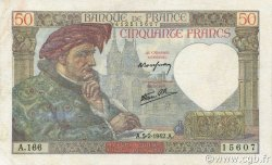 50 Francs JACQUES CŒUR FRANCE  1942 F.19.19 TTB+