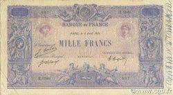 1000 Francs BLEU ET ROSE FRANCE  1921 F.36.37 TTB