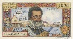 5000 Francs HENRI IV FRANCE  1958 F.49.07 pr.SPL
