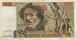 100 Francs DELACROIX modifié FRANCE  1984 F.69.08b pr.TTB