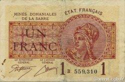 1 Franc MINES DOMANIALES DE LA SARRE FRANCE  1920 VF.51.02 TTB