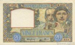 20 Francs SCIENCE ET TRAVAIL FRANCE  1941 F.12.15 SUP+
