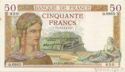 50 Francs CÉRÈS modifié FRANCE  1937 F.18.04 SUP à SPL