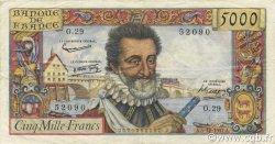 5000 Francs HENRI IV FRANCE  1957 F.49.04 TTB+