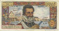 5000 Francs HENRI IV FRANCE  1958 F.49.07 TTB+