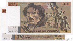 100 Francs DELACROIX 442-1 & 442-2 FRANCE  1994 F.69ter.01c pr.NEUF