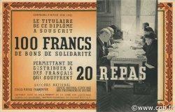 100 Francs - 20 Repas FRANCE régionalisme et divers  1941 KLd.01Bs pr.NEUF