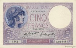 5 Francs VIOLET FRANCE  1925 F.03.09 pr.NEUF