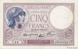 5 Francs VIOLET modifié FRANCE  1939 F.04.13 pr.NEUF