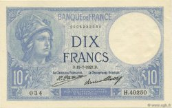 10 Francs MINERVE FRANCE  1927 F.06.12 NEUF
