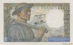 10 Francs MINEUR FRANCE  1945 F.08.13 SUP+