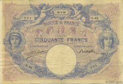 50 Francs BLEU ET ROSE FRANCE  1889 F.14.01