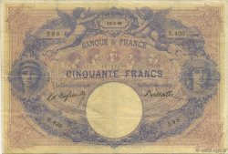 50 Francs BLEU ET ROSE FRANCE  1891 F.14.03 pr.TTB