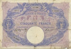 50 Francs BLEU ET ROSE FRANCE  1901 F.14.13 B+