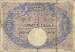 50 Francs BLEU ET ROSE FRANCE  1909 F.14.22 pr.TB