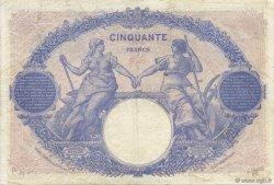 50 Francs BLEU ET ROSE FRANCE  1918 F.14.31 TB+
