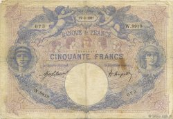 50 Francs BLEU ET ROSE FRANCE  1921 F.14.34 B à TB