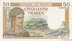 50 Francs CÉRÈS FRANCE  1937 F.17.33 pr.SPL