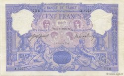 100 Francs BLEU ET ROSE FRANCE  1909 F.21.24 TTB