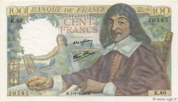 100 Francs DESCARTES FRANCE  1943 F.27.03 SUP